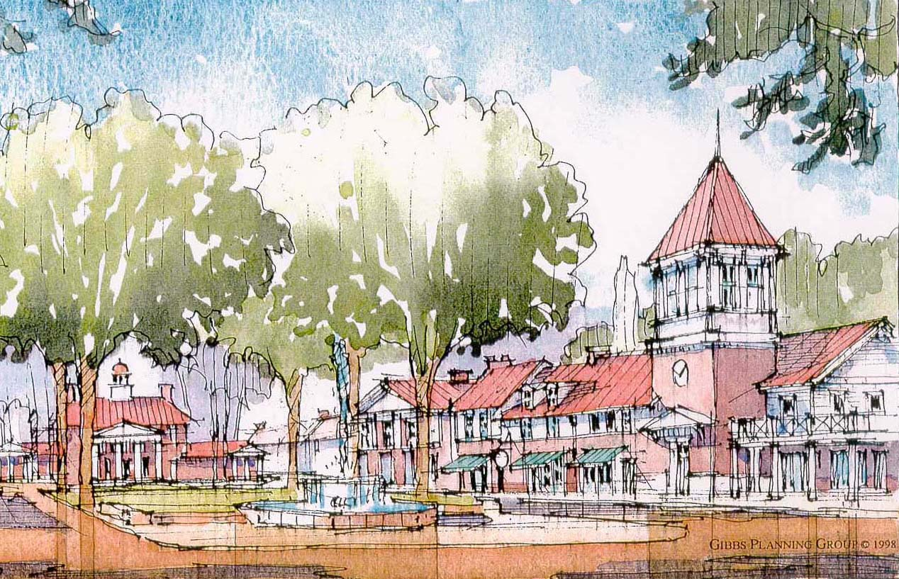 Rendering of Macomb Street looking east towards Town Center